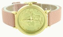 Geneva Pink Leather Band Watch Ladies Guinea Coin Dial 1850 Womens Stylish Unique 38mm