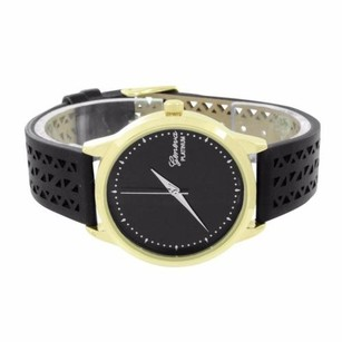 Geneva Gold Tone Watch Geneva Black Rubber Band Strap Stainless Steel Back Round Face