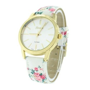 Geneva Gold Tone Womens Watch White Floral Leather Band Flower Design Strap Geneva 40mm
