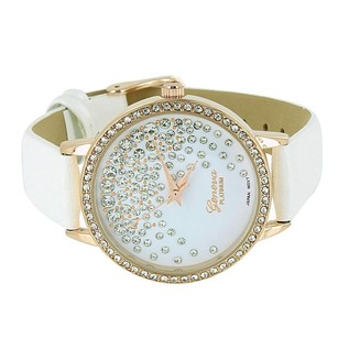 Geneva Rose Gold Tone Watch Floating Stones White Dial Leather Strap Simulated Diamonds