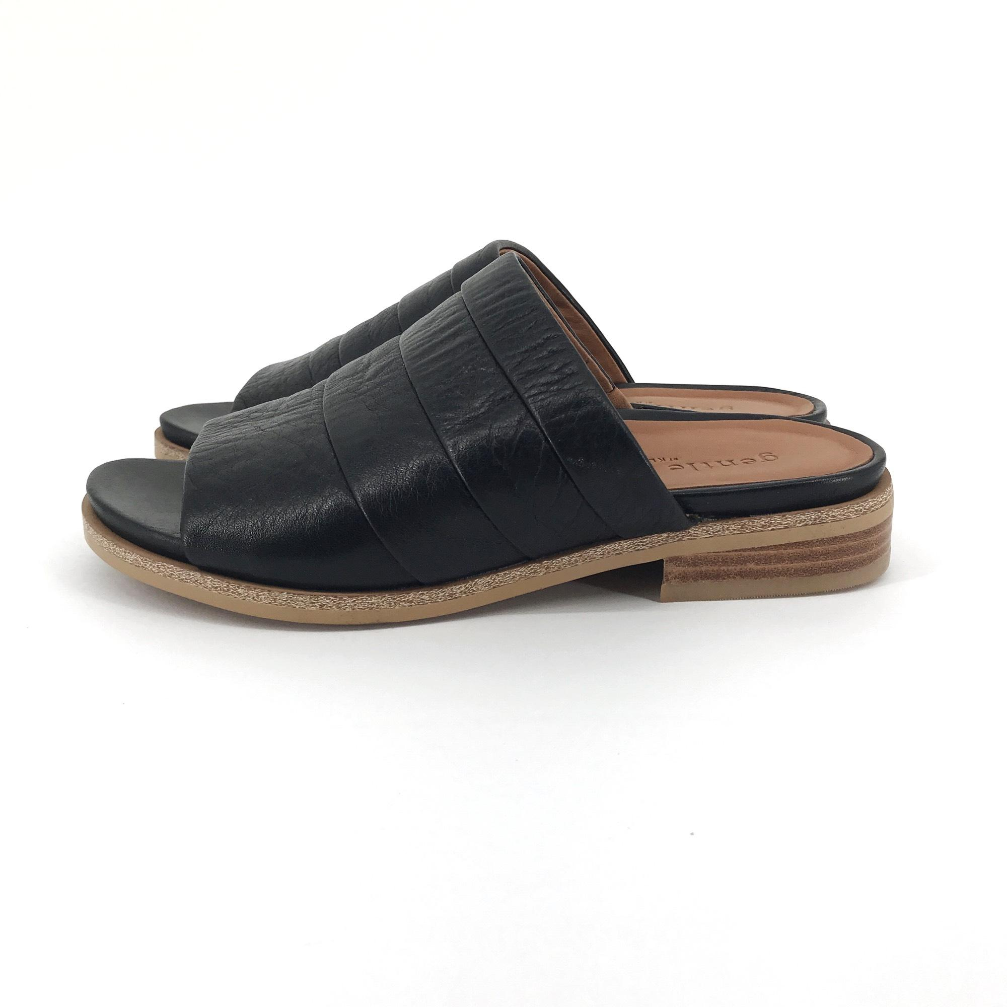 Gentle Souls Black Gayle Leather Slide Sandals Size US 6.5 ...