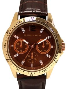 Geoffrey Beene Rose Gold Tone Brown Strap Watch