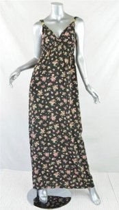 Black, Multicolor Maxi Dress by GERARD DAREL Womens Sleeveless Floral Print Silk Maxi