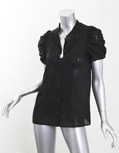 GERARD DAREL Womens Silk Button Down Short Sleeve Shirt 36s Top Black