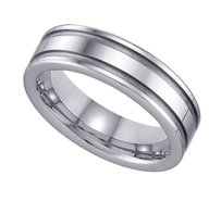 Geraud Tungsten Wedding Band Mens Grooved Comfort Fit 6mm Sz 7 To 14