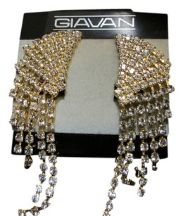 Giavan D22376E-(e-24) CLIP Rhinestone Earrings with Graduated Drops, Gold Plate