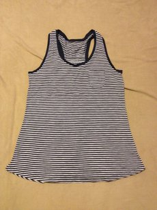 Gilligan & O'Malley Racer-back Comfortable Preppy Classic Top BLUE WHITE STRIPED