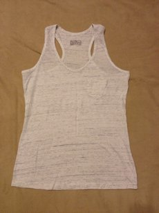 Gilligan & O'Malley Racer-back Comfortable Preppy Top WHITE GRAY HEATHER SPACE DYE