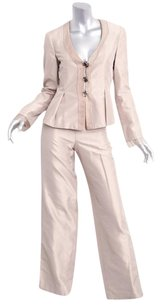 Giorgio Armani Giorgio Armani Womens Beige Silk Three-button Blazer Pantsuit Suit 360