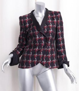 Giorgio Armani Giorgio Armani Womens Blackred Silk Long-sleeve Blazer Jacket Coat 404
