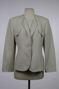 Giorgio Armani Giorgio Armani Womens White Taupe Blazer Cotton Career Suit Jacket