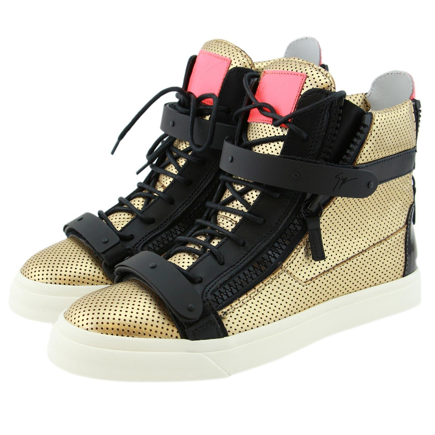 Giuseppe Zanotti Black & Gold New Women High-top Dual Strap Perforated Leather Sneakers Eu39 Sneakers Size US 9 Regular (M, B)