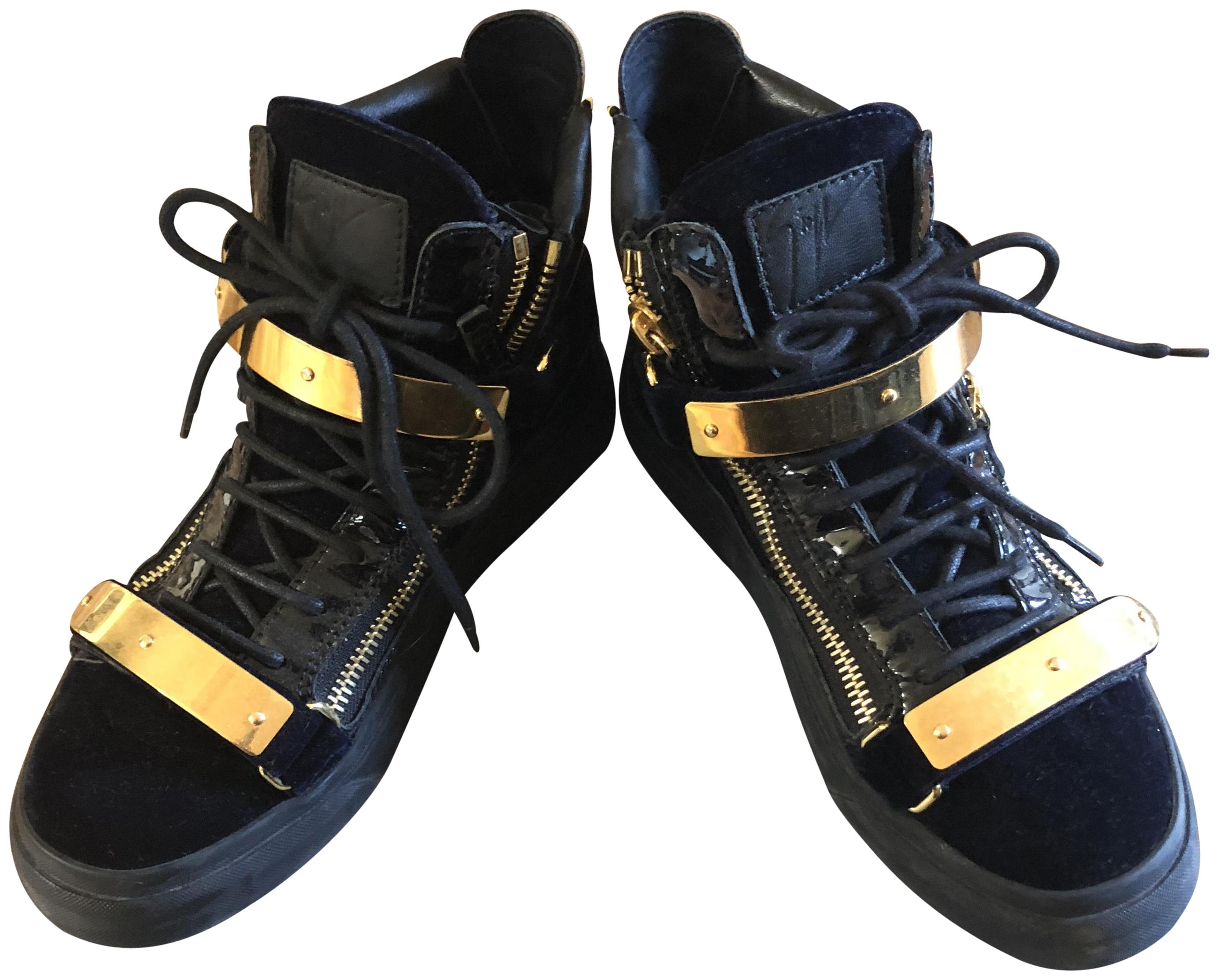 Giuseppe Zanotti Black and May Gold Velvet May and London Sneakers Size US 8.5 Regular (M, B) 4fc7b0