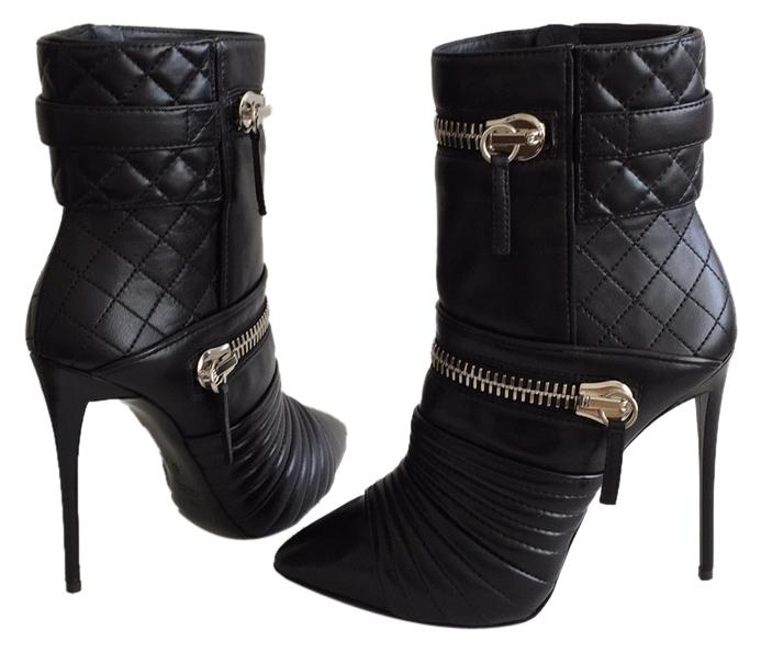 Giuseppe Zanotti Black Quilted Leather Double-zip Boots/Booties Size US 8.5 Regular (M, B)