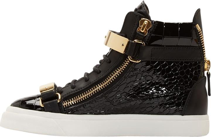 Giuseppe Zanotti Black Ssense Exclusive Patent Crocodile London Sneakers Sneakers Size US 7 Regular (M, B)