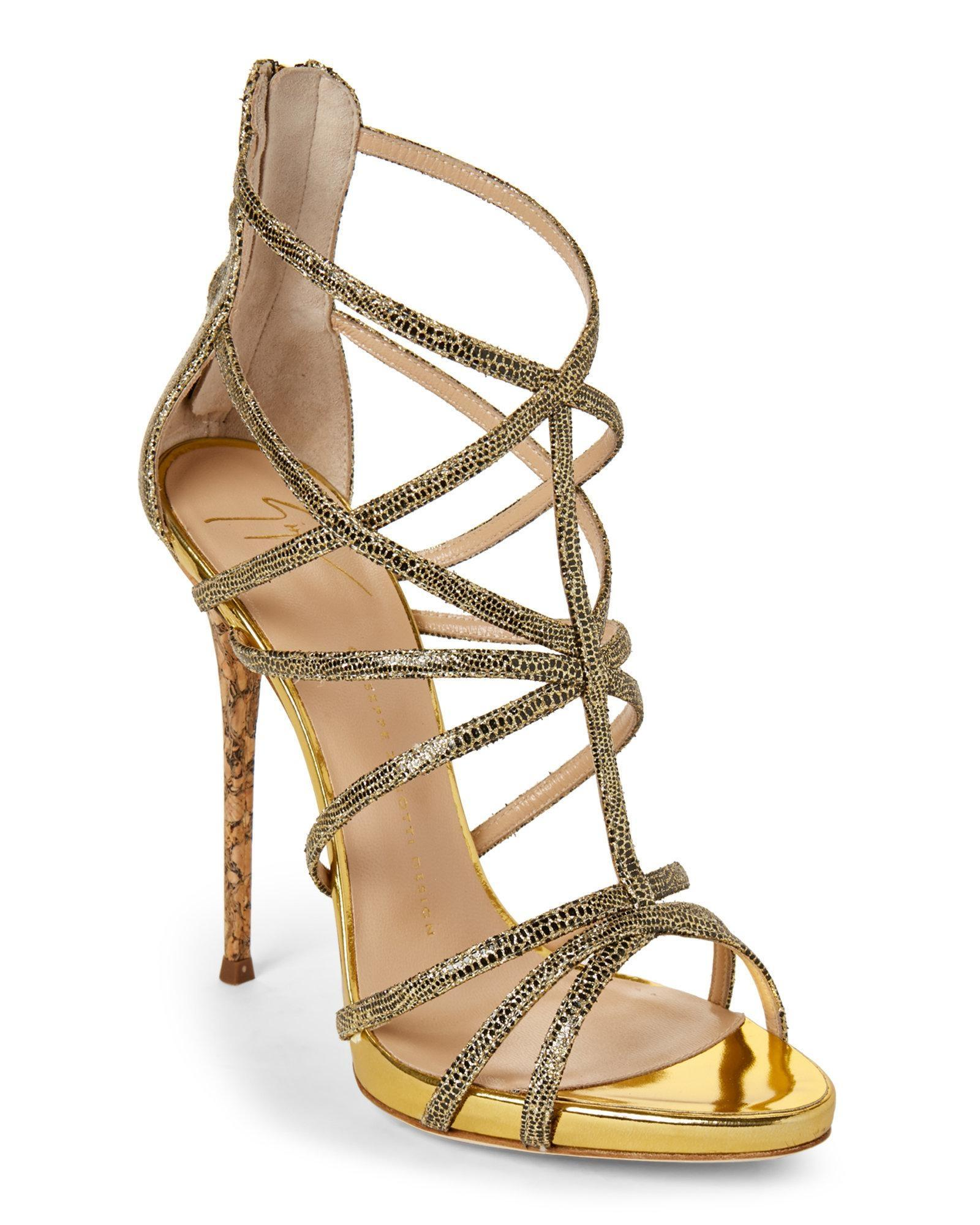 Giuseppe Zanotti Gold Black Glitter Cork Reptile-embossed Cage Sandals Size EU 37.5 (Approx. US 7.5) Regular (M, B)