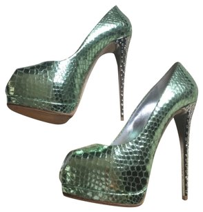 Giuseppe Zanotti Light Metallic Green Platforms