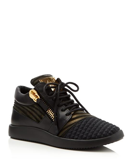 Giuseppe Zanotti Woman London Leather And Metallic Suede Sneakers Light Size 36 3p2ic3xUR