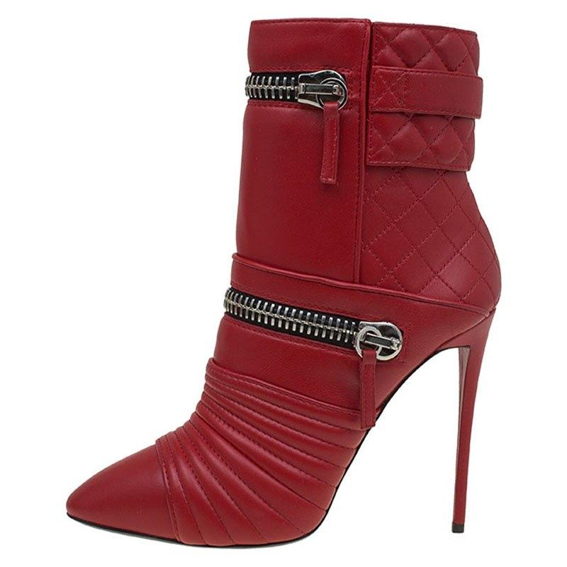 8cbdf354102 Giuseppe Zanotti Red Quilted Quilted Quilted Leather Double Zip Accent  Boots Booties Size EU 38.5