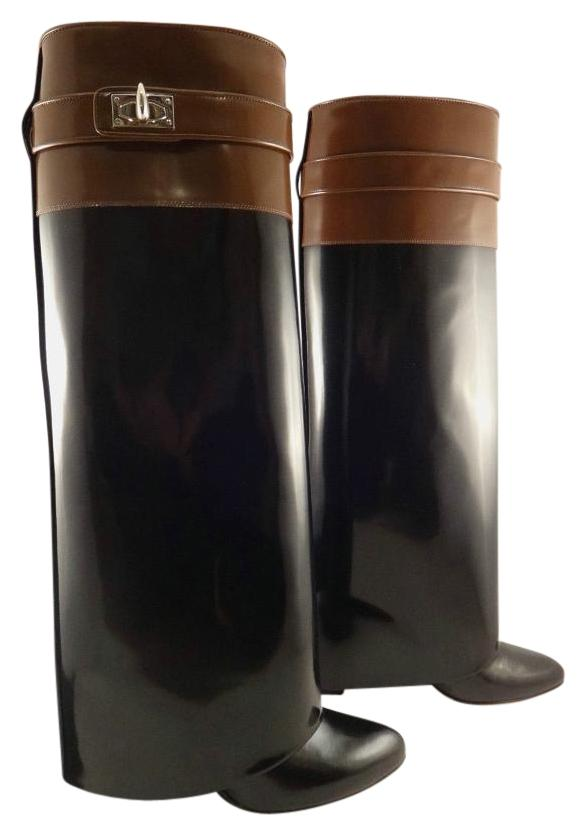 Givenchy Black Brown Leather Shark Tooth Lock Wedge 38 Boots/Booties Size US 8 Regular (M, B)