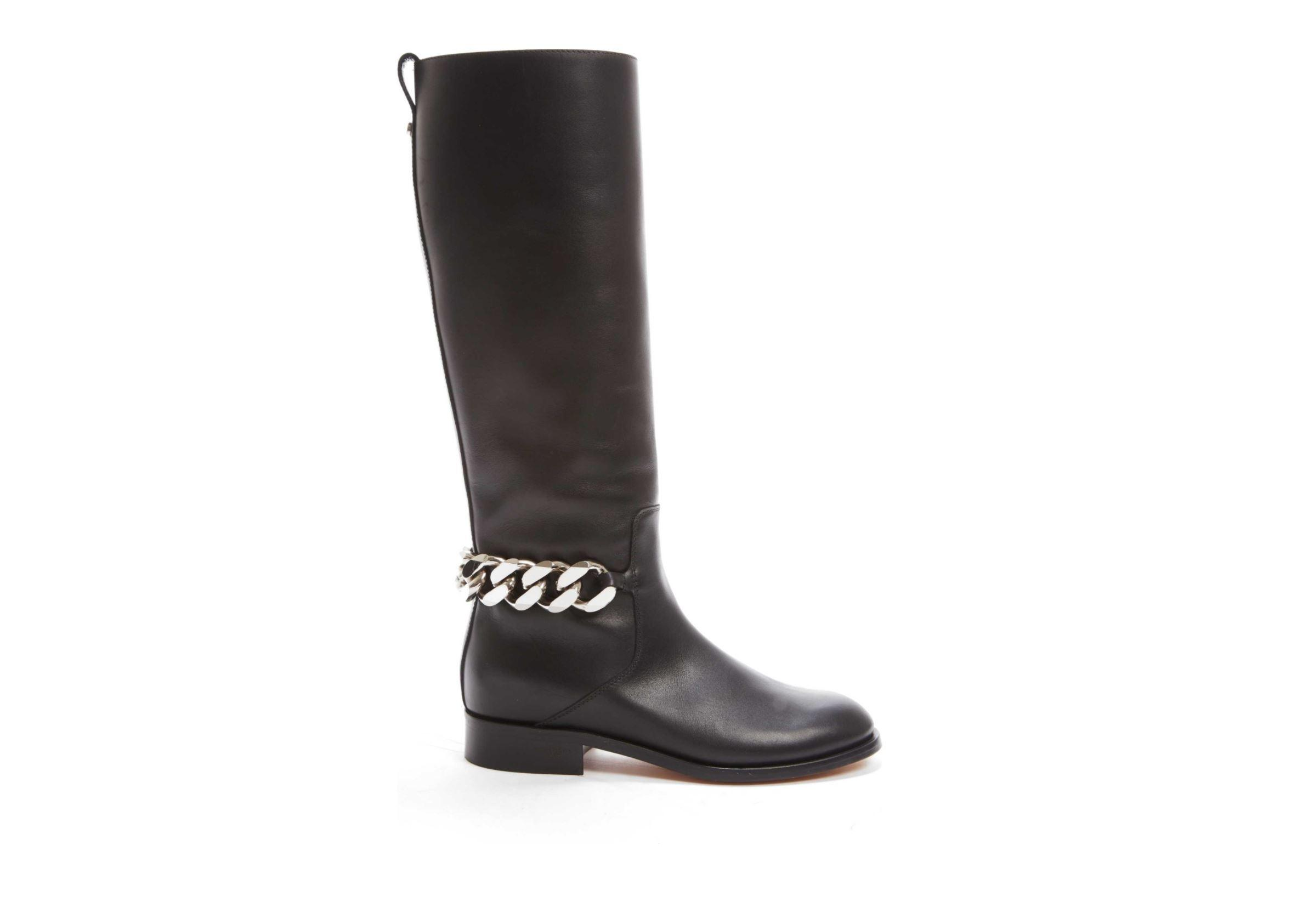 Givenchy Black Leather Chain Tall In 36/Us Boots/Booties Size US 6 Regular (M, B)