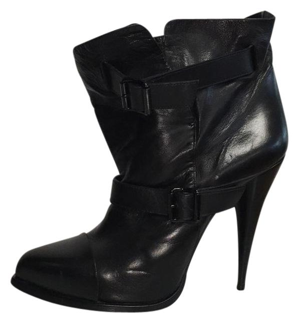 Givenchy Black Leather Strap Buckle Boots/Booties Size US 8