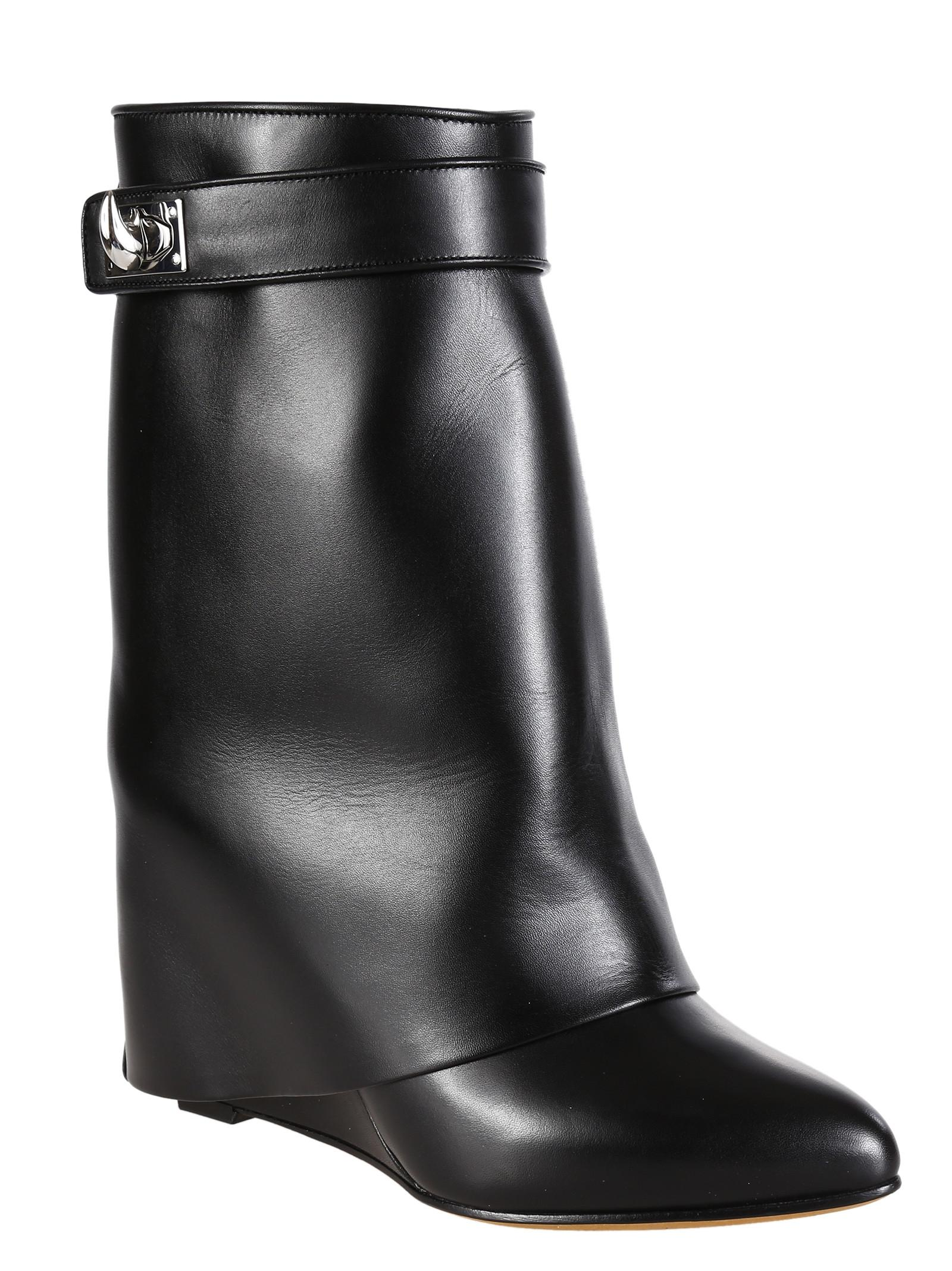 Givenchy Black Lock Leather Mid Calf Wedge Boots/Booties Size US 9 Regular (M, B)
