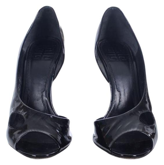Givenchy Black Patent Leather Open Toe Heels Stilettos Pumps Size US 7.5 Regular (M, B)