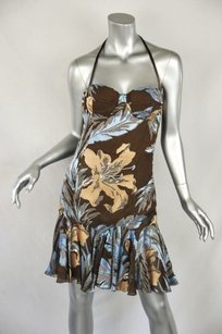 Givenchy Brownblue Flirty Floral Silk Halter Bustier M42 Dress
