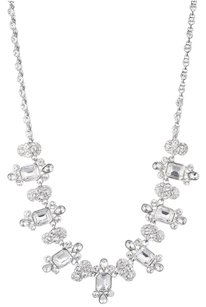 Givenchy Givenchy Silver-Tone Clear Crystal Collar Necklace
