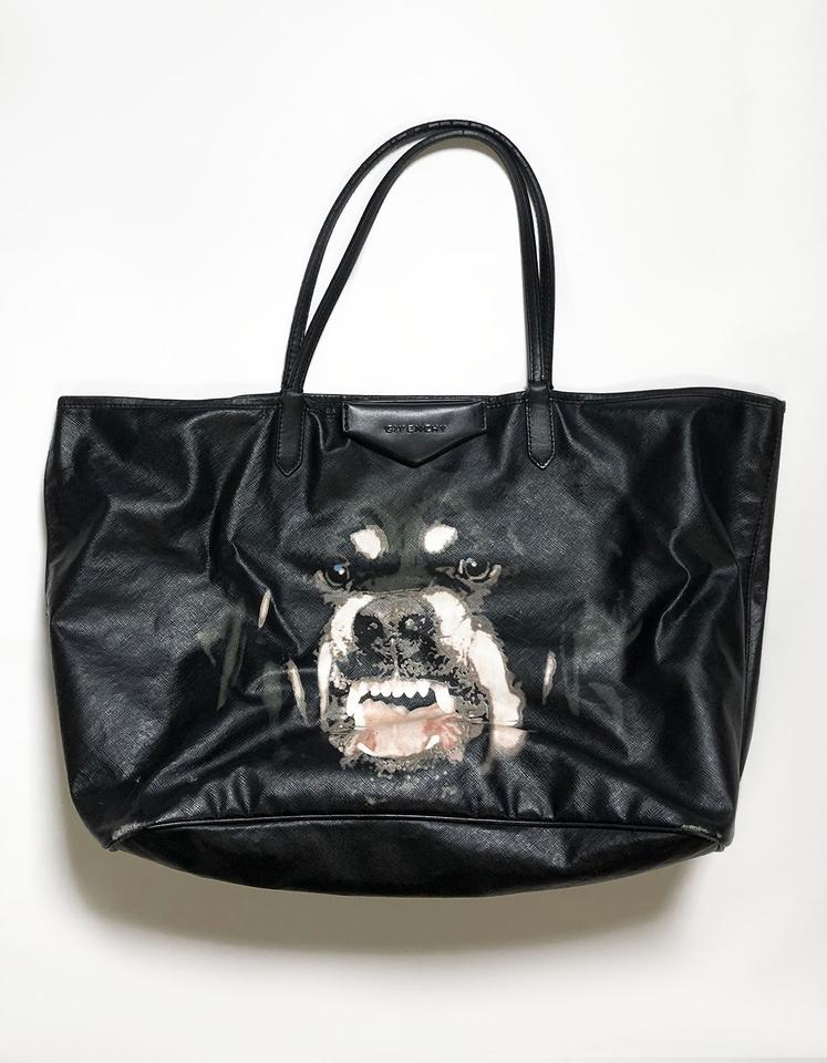 0628b8ec93 Givenchy Rottweiler Antigona Black Coated Canvas and Leather Tote ...