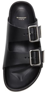 Givenchy Calf Leather Buckles Straps Footbed 40 10 Slide Black Sandals