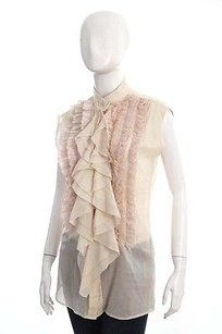 Givenchy Cream Ruffle Top Beige