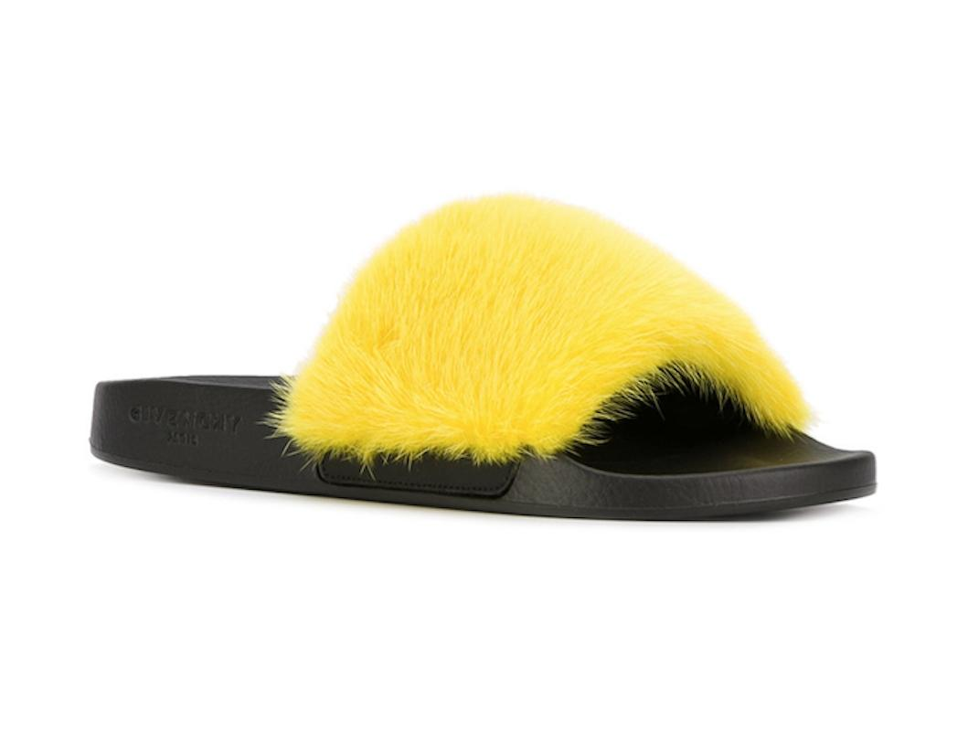 Givenchy Yellow Paris Jaune Mink Fur Black Mule Slide Flop Flat Sandals Size EU 40 (Approx. US 10) Regular (M, B)