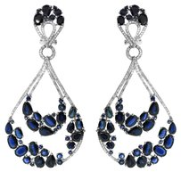 GLK 18K White Gold 1.06CT Diamond 25.48CT Blue Sapphire Chandelier Earrings