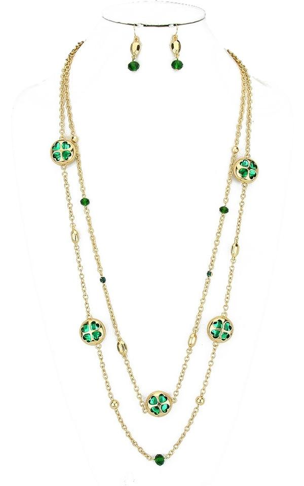 Beautiful Gold Tone Green Clover Crystal Accent Double Layer Long Chain  BX72
