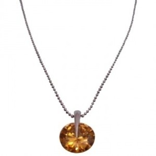 Golden Colorado Crystals Round Pendant In Silver Chain Necklace