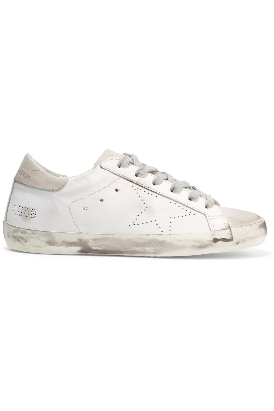 Superstar Distressed Leather And Suede Sneakers - WhiteGolden Goose NiHpVX