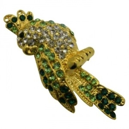 Gorgeous Attractive Bird Brooch Peridot Crystals Sparkle Shine Brooch