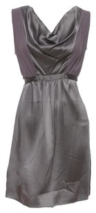 Graham & Spencer short dress Grey, Silver Silk Empire Waist Metallic Mini Waist Tie on Tradesy