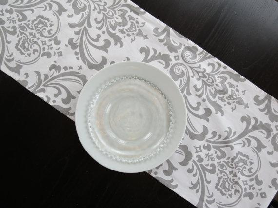 Gray White 10 U0026 Damask Table Runner Tablecloth ...