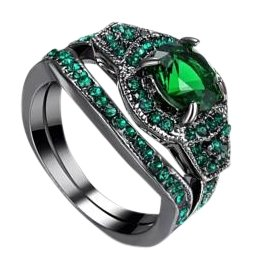 Other 2pc Emerald Green And Black Gold Filled Wedding Ring Set Sz 7 ...