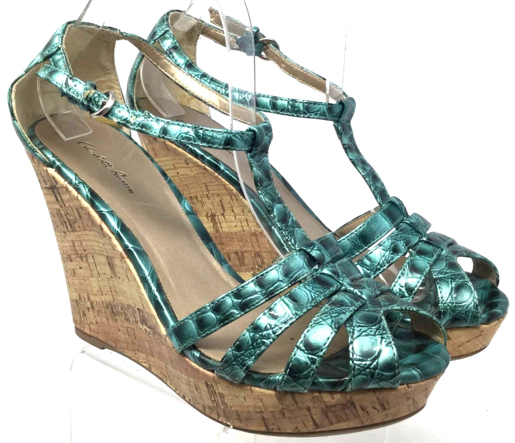1217697424b Green Green Green Russe Women s Sandals Ankle Strap Wedges Size US 8.5  Regular (M