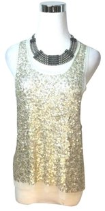 Gryphon York Metallic Ring Appliqu Sleeveless Top Gold