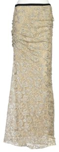 Gryphon Womens Metallic Maxi Skirt Beige