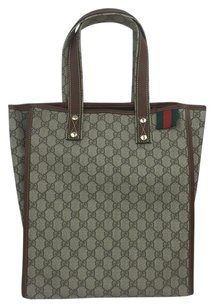 Gucci 211135 Shopping Signature Tote in Brown / Beige
