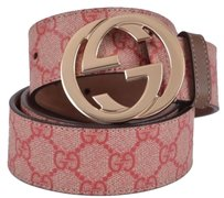 Gucci ,Gucci,Womens,114876,Coated,Canvas,Pink,Gg,Guccissima,Belt,,