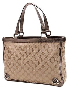 Gucci Gg Canvas Abbey D Ring Tote in Beige