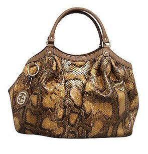 Gucci Sukey Python Tote in Brown