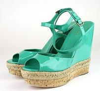 Gucci Hollie Patent Leather Green Platforms